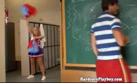 Blonde cheerleader fingered by her fresh instructor